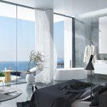 Luxe slaapkamer met groene marmeren vloer en muur