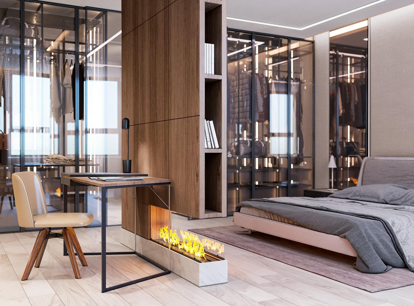 Luxe slaapkamer met ruime inloopkast en werkplek