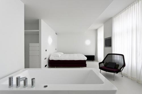 Minimalistisch witte slaapkamer van zenden hotel slaapkamer ideeën