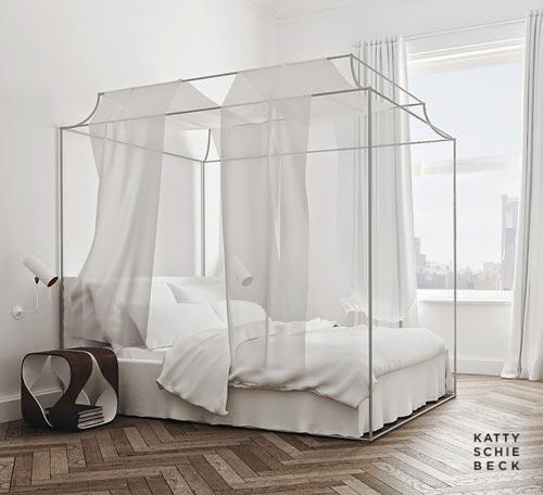 Minimalistische romantische slaapkamer