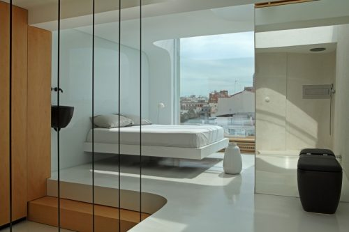 Minimalistische slaapkamer met ensuite badkamer | Slaapkamer ideeën