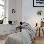 Minimalistische slaapkamer met warme tinten