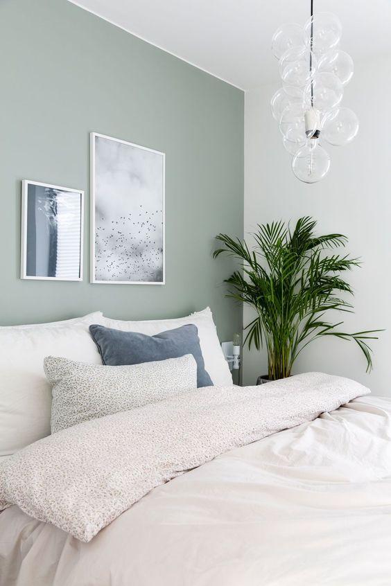 mintgroene muur slaapkamer