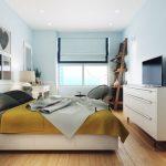 Modern landelijke slaapkamer met licht blauwe muren