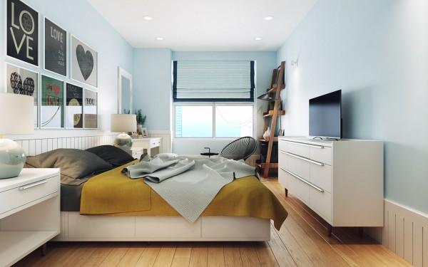 Landelijke Slaapkamer Kleuren : Modern landelijke slaapkamer met licht blauwe muren slaapkamer ideeën