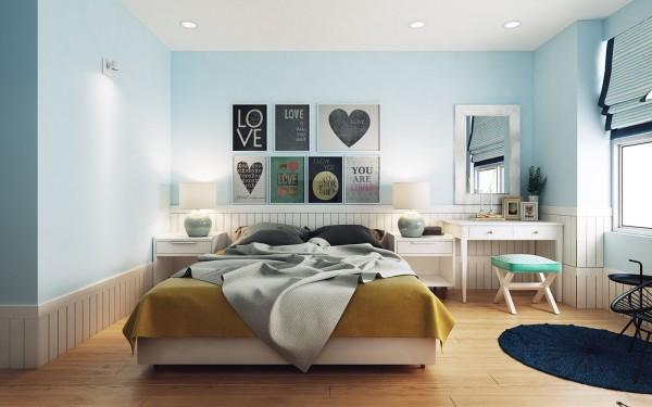 Modern landelijke slaapkamer met licht blauwe muren for Slaapkamer landelijk modern