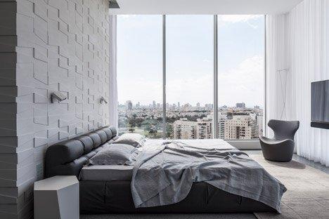Modern slaapkamer ontwerp met geometrische 3d tegels | Slaapkamer ideeën