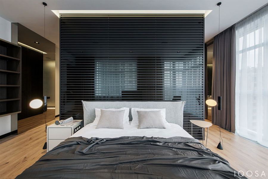 Moderne Slaapkamer Ontwerpen : Modern slaapkamer ontwerp met half open badkamer door iqosa
