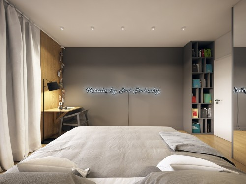 Moderne design slaapkamer met grijze muren