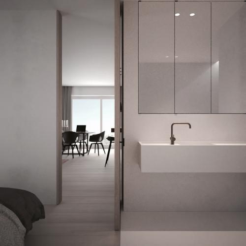 Moderne slaapkamer met ruime open badkamer  Slaapkamer ideeën