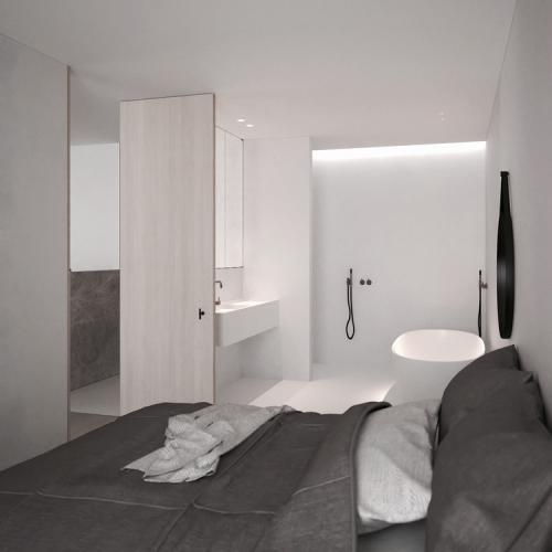 Moderne slaapkamer met ruime open badkamer slaapkamer idee n - Slaapkamer met open badkamer ...