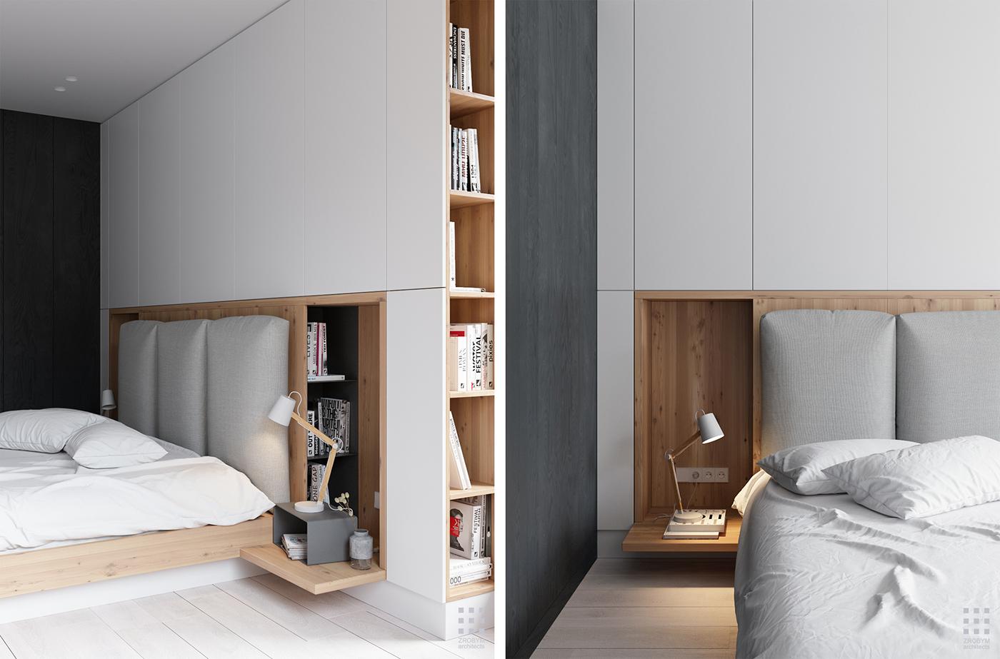 Moderne slaapkamer 3d ontwerpen door ZROBYM architects