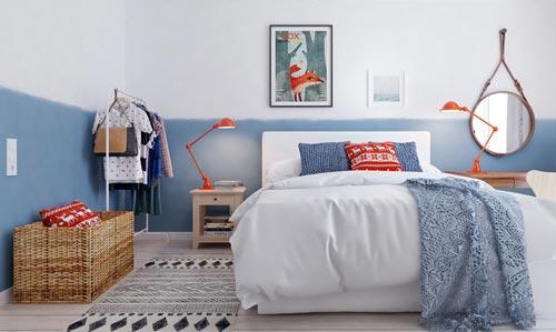 Moderne slaapkamer met blauw als hoofdkleur | Slaapkamer ideeën