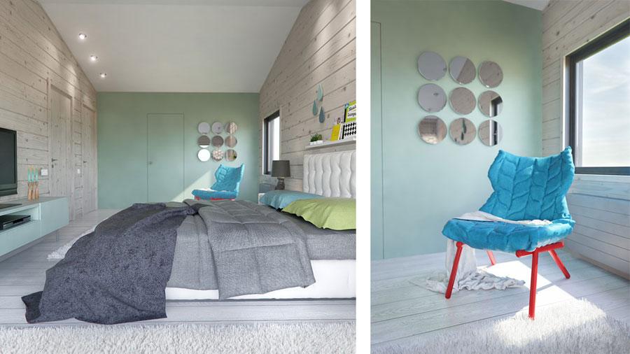 Moderne slaapkamer in een modern houten huis