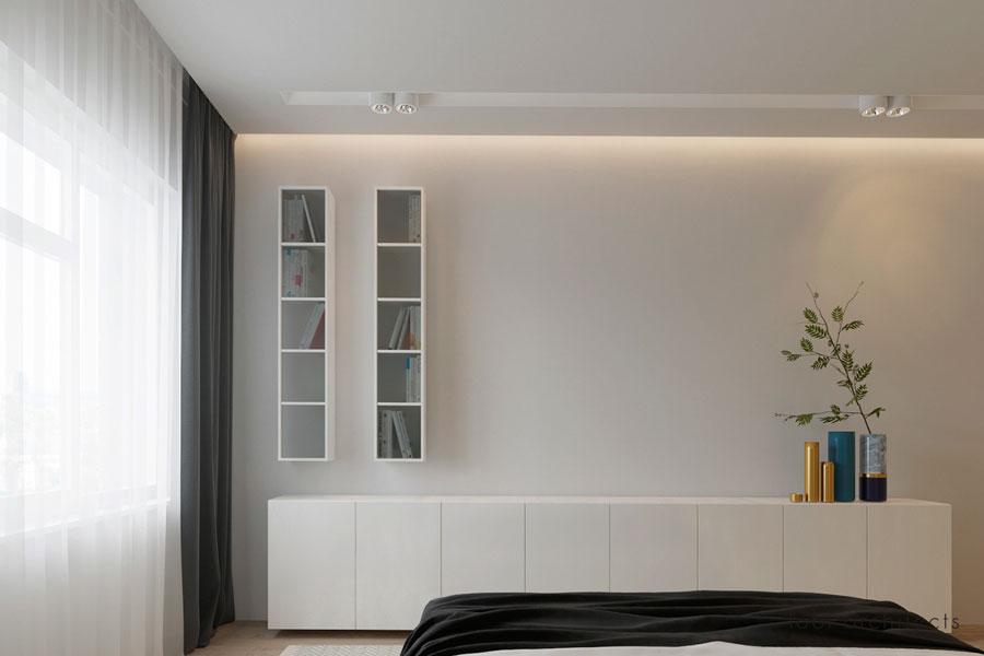 Moderne slaapkamer met een matglazen inloopkast