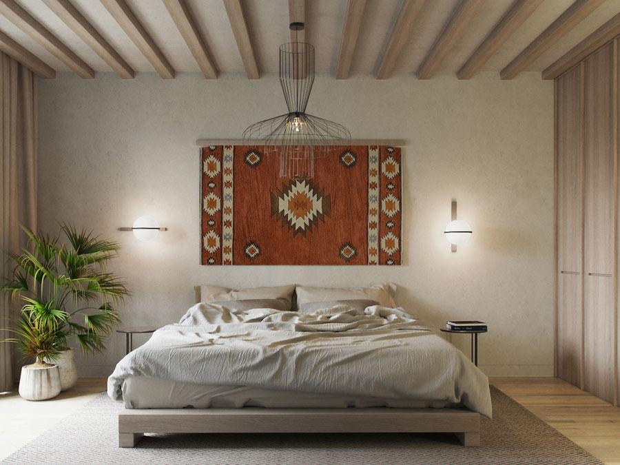 Moderne slaapkamer met een mediterraanse sfeer