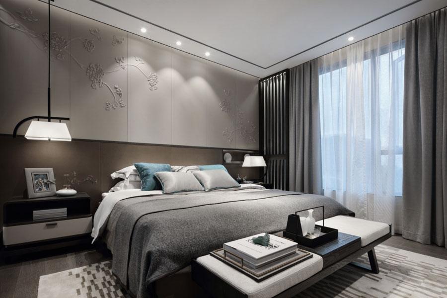 Moderne slaapkamer met een Oosters tintje door Keven Hu