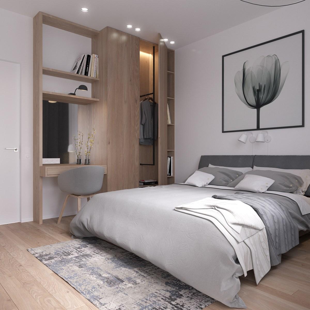 Moderne slaapkamer met werkplek kledingkast combinatie | Slaapkamer ...