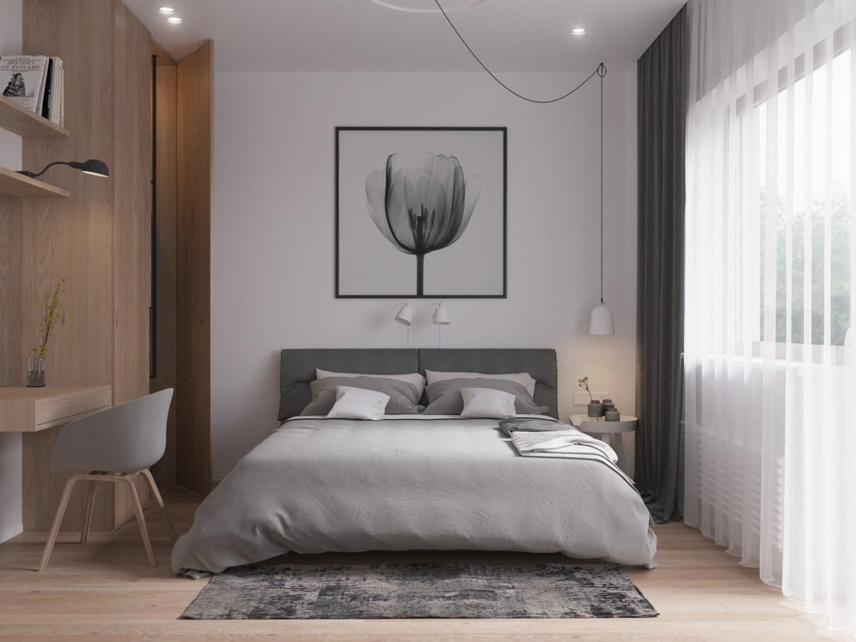 Moderne slaapkamer met werkplek kledingkast combinatie