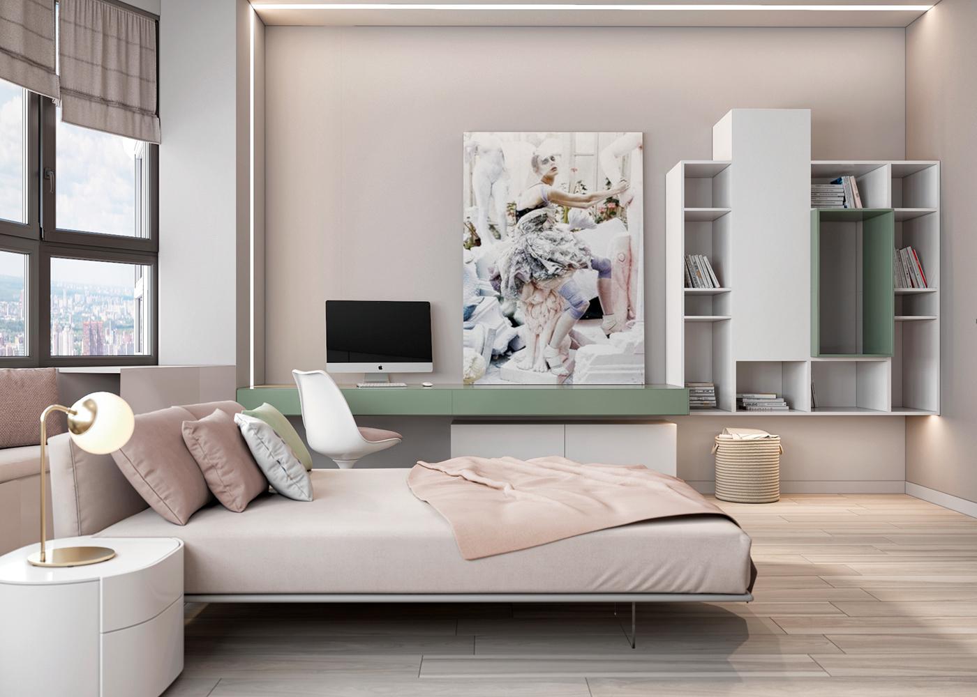 Moderne slaapkamer met zachte pastelkleuren