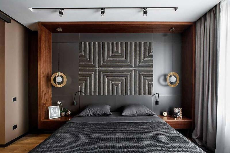 Moderne slaapkamer met zwart en hout