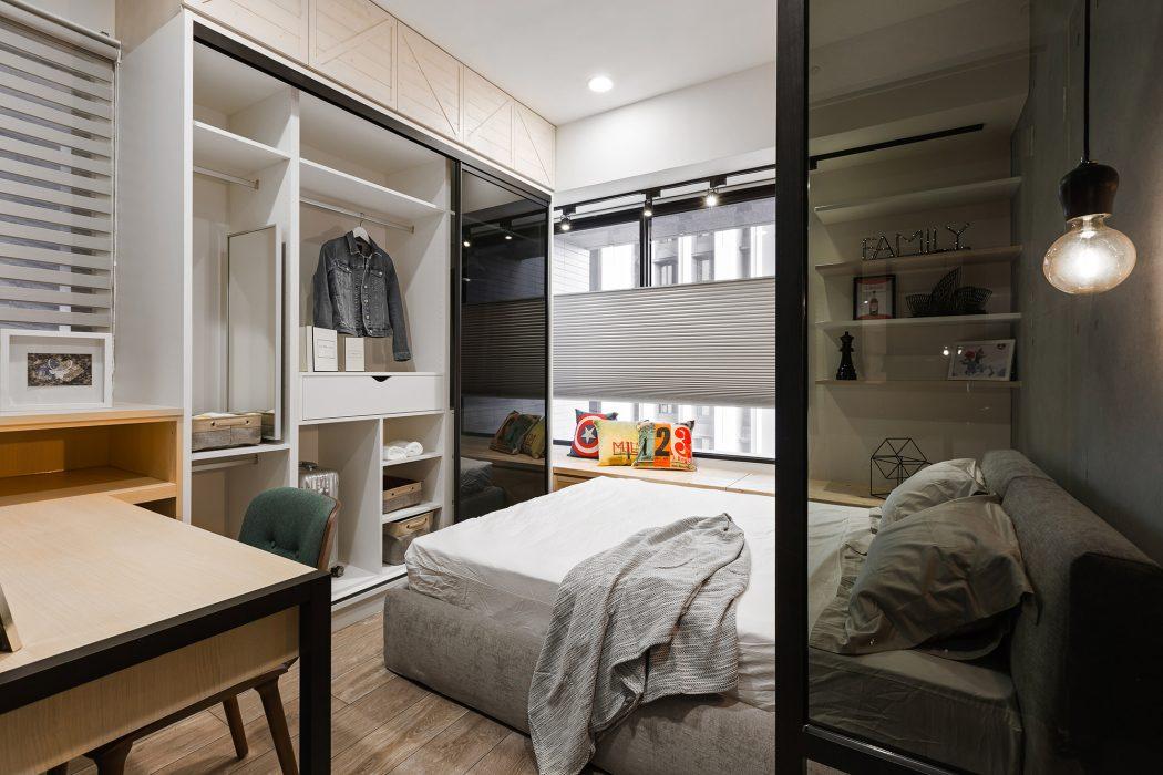 Moderne stoere slaapkamer van industrieel loft appartement uit Taiwan