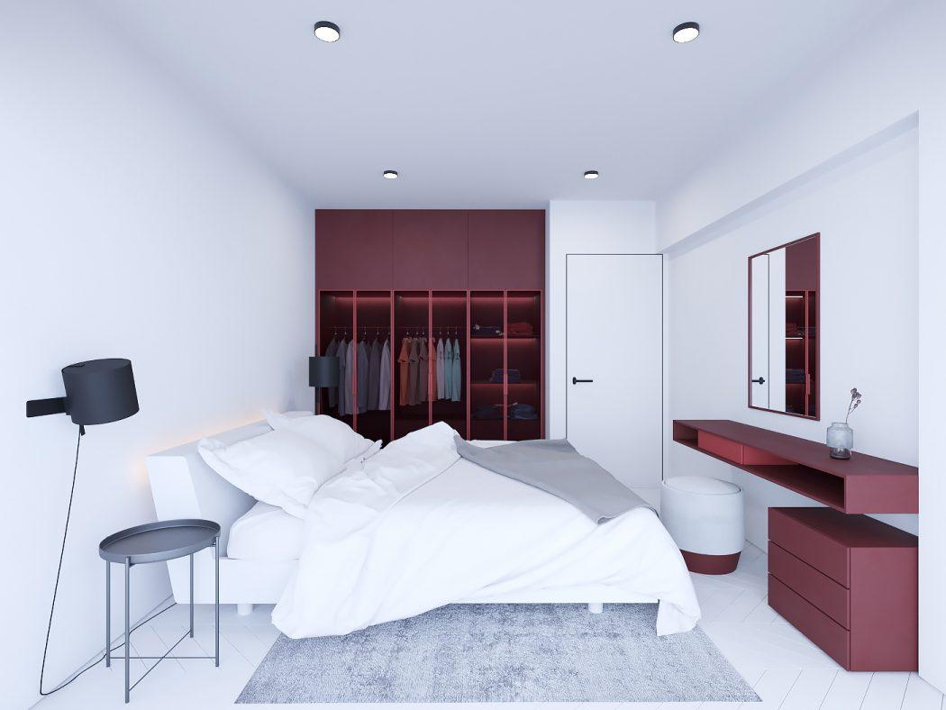 Moderne witte slaapkamer met roodtinten slaapkamer ideeën