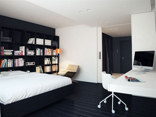 Moderne zwart witte slaapkamer