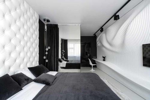 Moderne zwart witte slaapkamer slaapkamer idee n - Deco woonkamer aan de muur wit ...