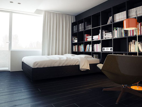 Gray Bedrooms with Dark Flooring 500 x 375