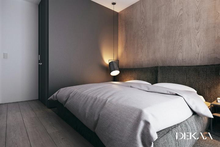 Monochrome slaapkamer met een luxe warme uitstraling