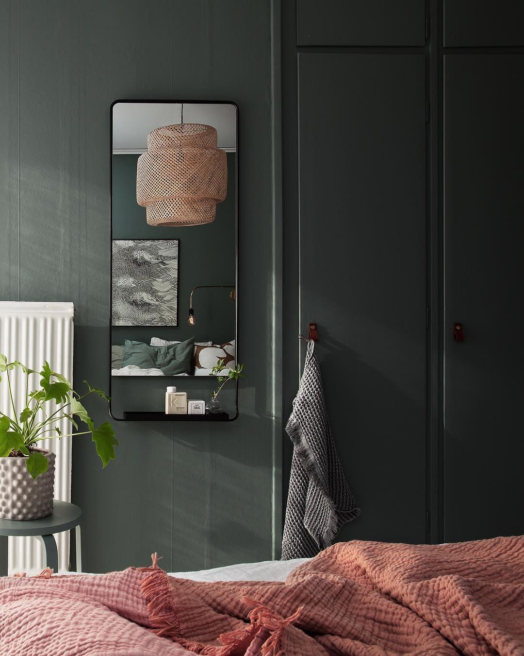 13x Groene muur in de slaapkamer