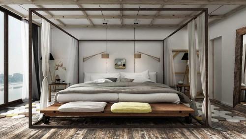 Nonchalante onafgemaakte slaapkamer ontwerpen