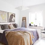 Scandinavische slaapkamer met smalle inbouwkast