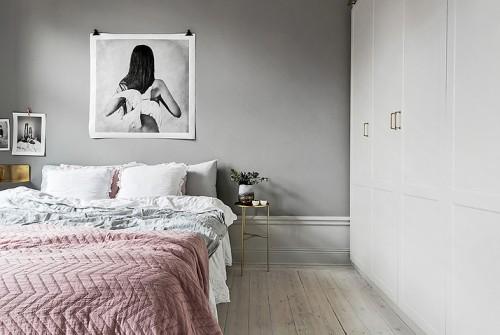 Scandinavische slaapkamer met gouden details | Slaapkamer ideeën