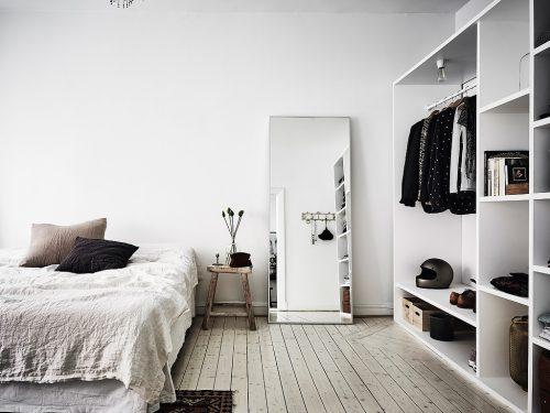 Scandinavische slaapkamer in bohemian vintage stijl