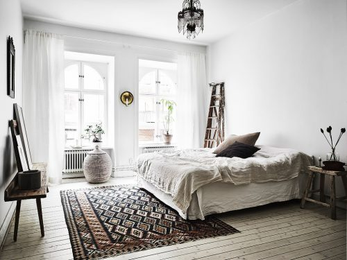 Scandinavische slaapkamer in bohemian vintage stijl | Slaapkamer ideeën