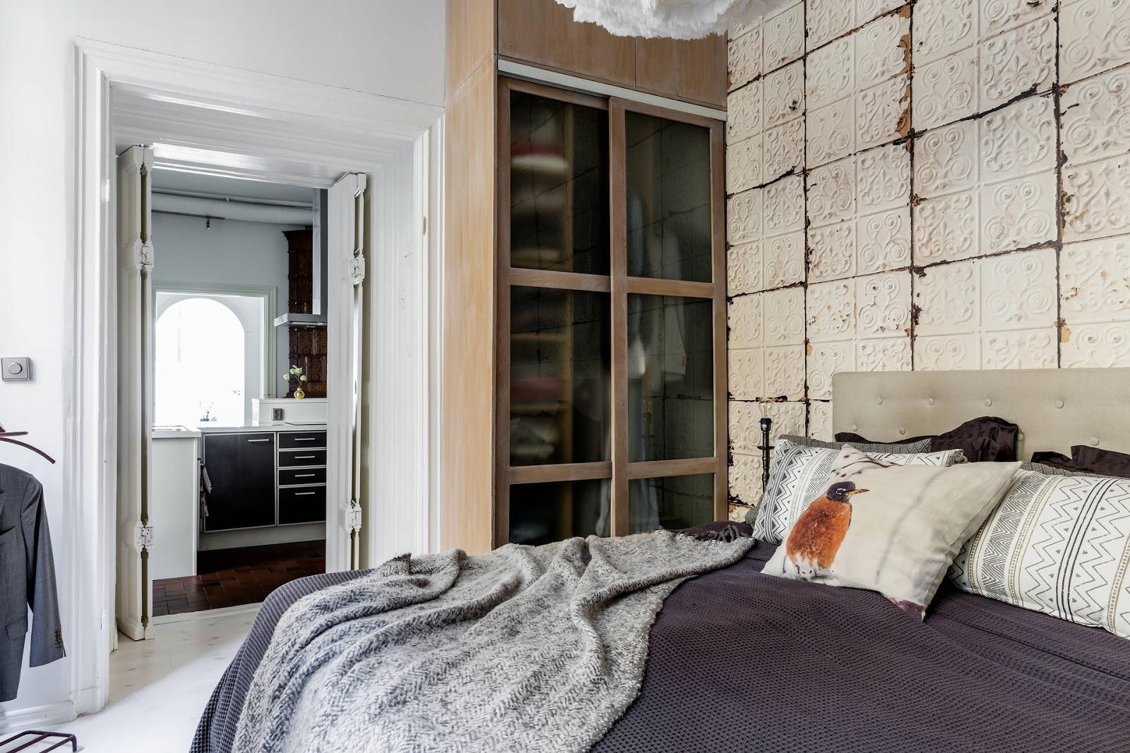 Scandinavische slaapkamer met een vintage Italiaans tintje