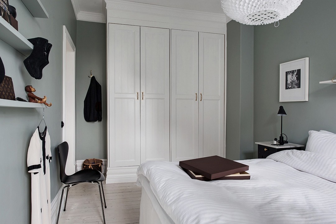 Slaapkamer Groen Grijs : Scandinavische slaapkamer met grijs mosgroene muren slaapkamer ideeën