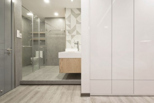 Slaapkamer badkamer ontwerp met l indeling slaapkamer idee n for Spiegel boven bed