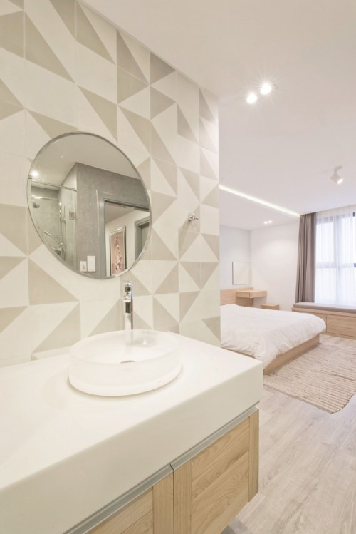 Slaapkamer badkamer ontwerp met L-indeling  Slaapkamer ideeën