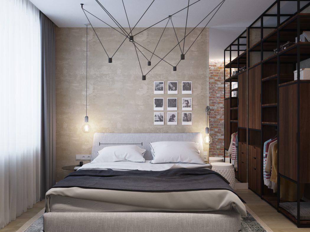 Slaapkamer met betonstuc