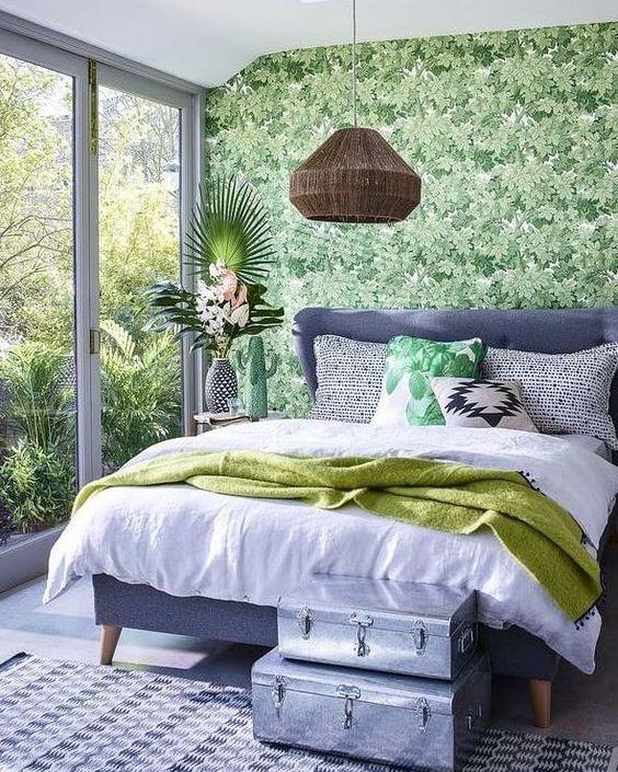 Slaapkamer botanisch behang