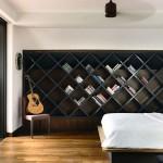 Slaapkamer met design boekenkast