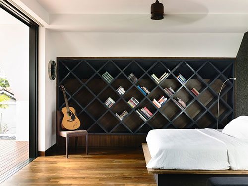 Slaapkamer met design boekenkast slaapkamer idee n - Modern slaapkamer modern design ...