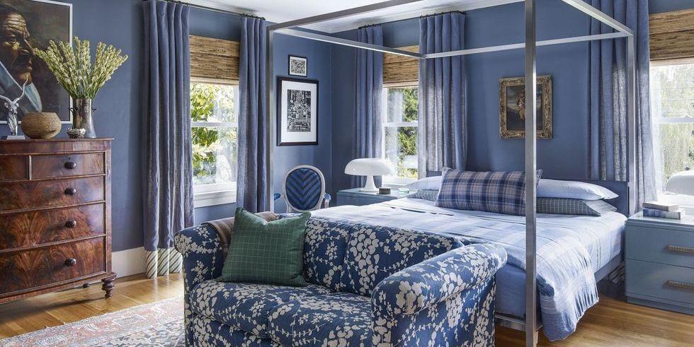 slaapkamer eclectisch blauwe muren
