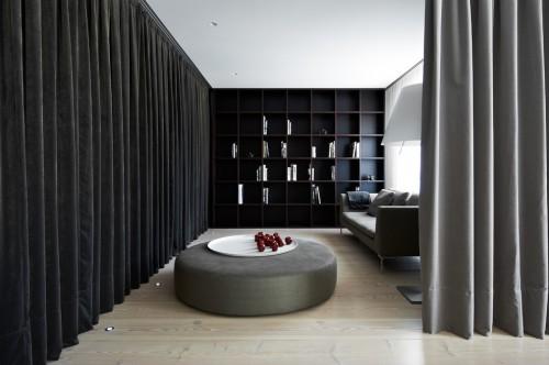 slaapkamer met gordijn als roomdevider met inloopkast  slaapkamer, Meubels Ideeën