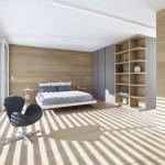 Slaapkamer met hout en glas