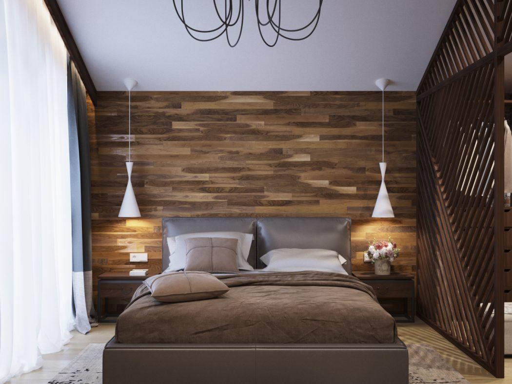 Slaapkamer met houten wandbekleding