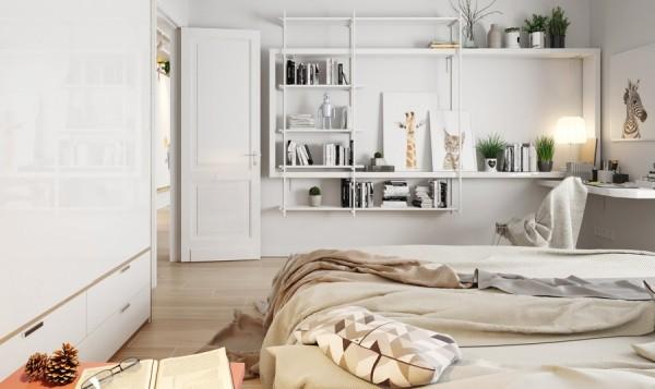 Slaapkamer met grote wand werkplek  Slaapkamer ideeën